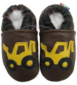 Chaussons cuir souple marron Tractopelle jaune Carozoo