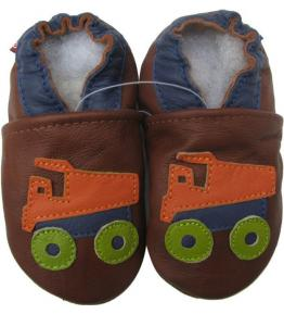 Chaussons cuir souple marron Camion benne orange Carozoo