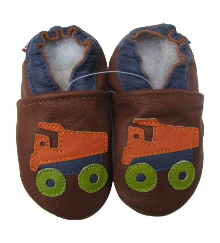 Chaussons marron Camion benne orange Carozoo en cuir souple