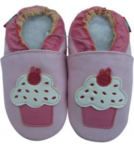 Chaussons cuir souple rose Cupcake Carozoo