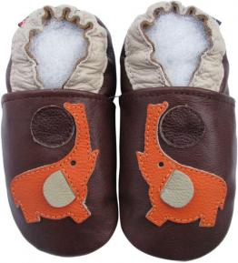 Chaussons cuir souple marron Eléphant orange Carozoo