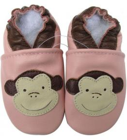 Chaussons cuir souple rose Singe beige Carozoo