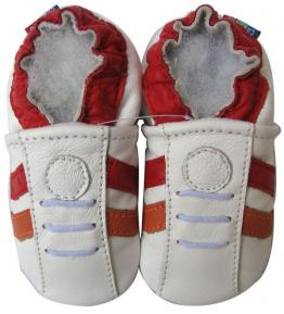 Chaussons cuir souple blanc Sport rouge Carozoo