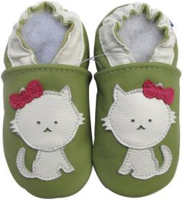 Chaussons cuir souple vert Chat blanc Carozoo