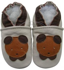 Chaussons cuir souple beige Oursons marron Carozoo