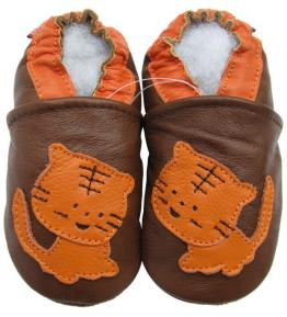 Chaussons cuir souple marron Tigre orange Carozoo