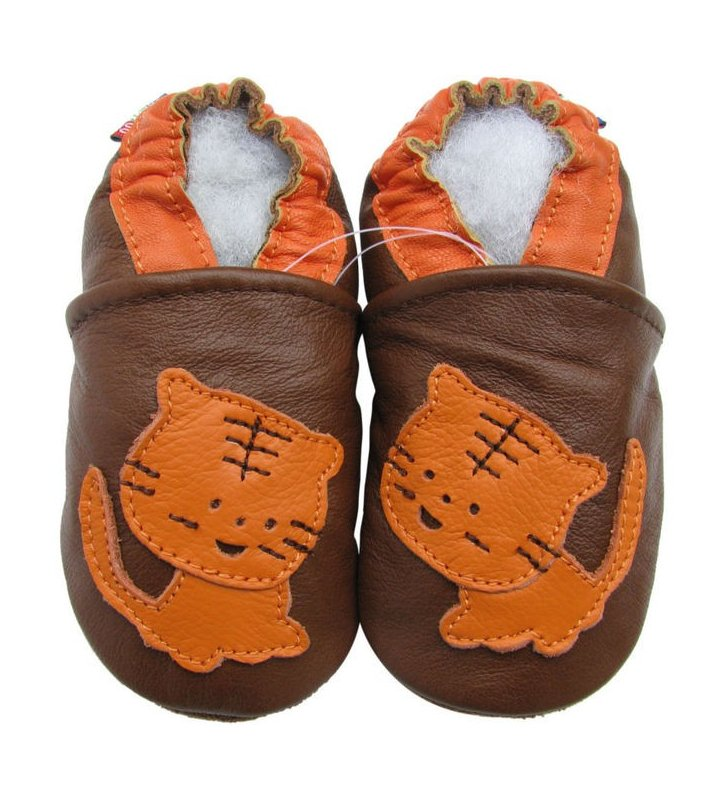 Chaussons marron Tigre orange Carozoo en cuir souple