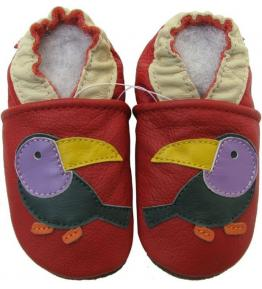 Chaussons cuir souple rouge Toucan Carozoo