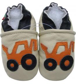 Chaussons cuir souple beige Tractopelle orange Carozoo