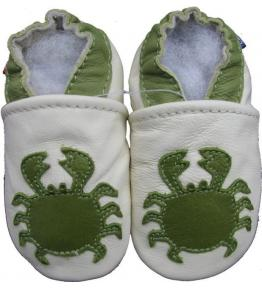 Chaussons cuir souple beige Crabe Carozoo