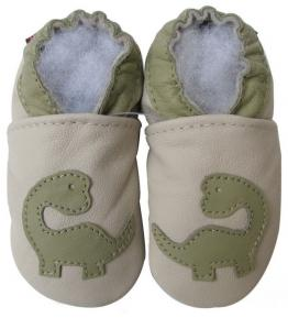 Chaussons cuir souple beige Dinosaure Carozoo