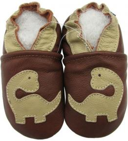 Chaussons cuir souple marron Dinosaure Carozoo