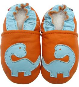 Chaussons cuir souple orange Dinosaure Carozoo