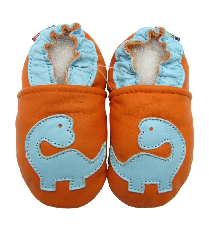 Chaussons orange Dinosaure Carozoo en cuir souple