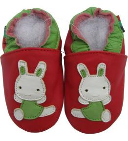 Chaussons cuir souple rouge Lapin Carozoo