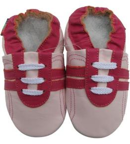 Chaussons cuir souple rose Sport rouge Carozoo