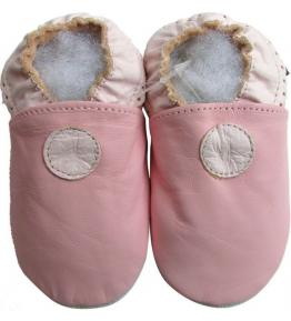 Chaussons cuir souple rose Standard Carozoo