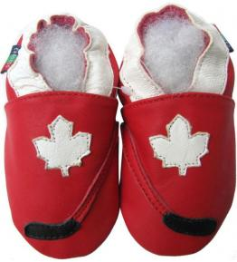 Chaussons cuir souple rouge Hockey Carozoo