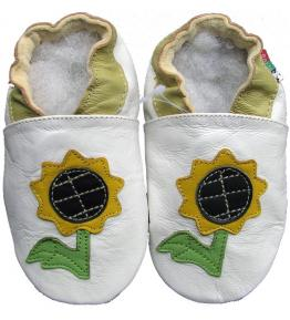 Chaussons cuir souple blanc Tournesol Carozoo