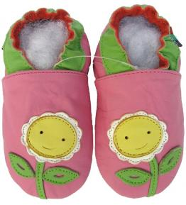 Chaussons cuir souple rose Tournesol Carozoo