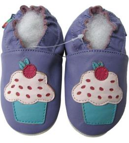 Chaussons cuir souple violet CupeCake Carozoo