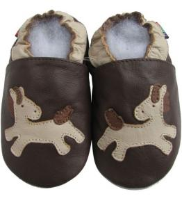 Chaussons cuir souple marron Poney Carozoo