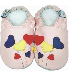 Chaussons cuir souple rose Ballons JinWood