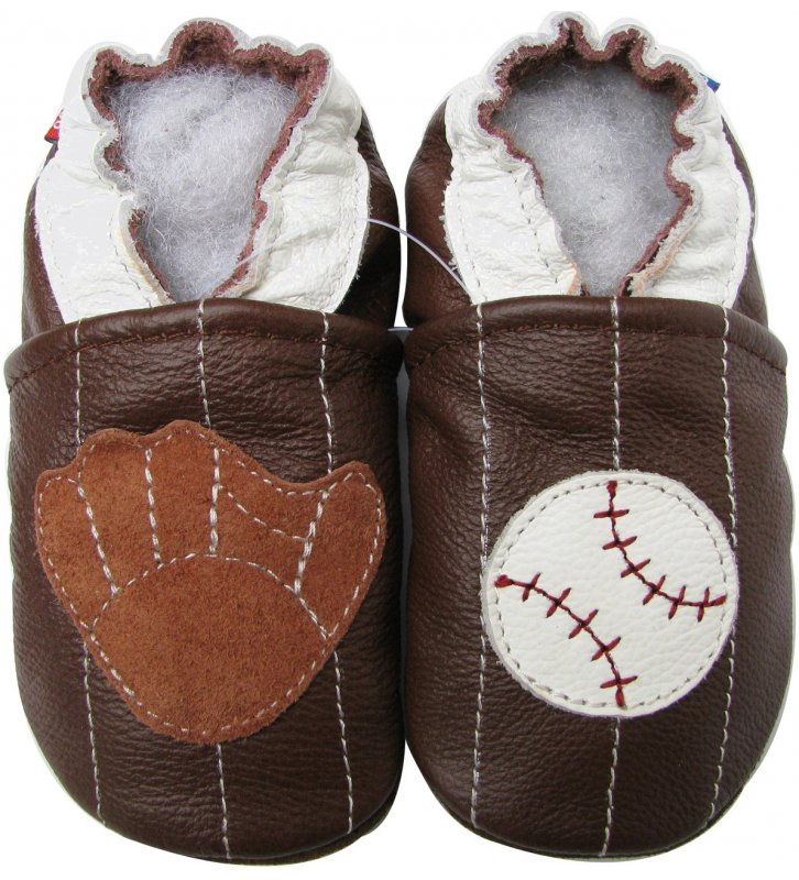 Chaussons marron Baseball Carozoo en cuir souple