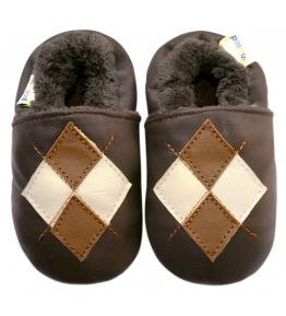 Chaussons cuir fourrés marron losanges JinWood