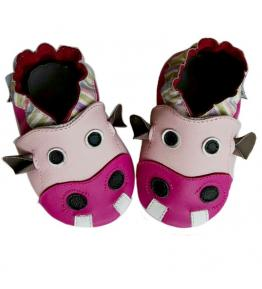 Chaussons cuir souple rose 3D hippopotame Hyacinthe JinWood