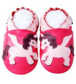Chaussons cuir souple rose fuchsia Licorne JinWood