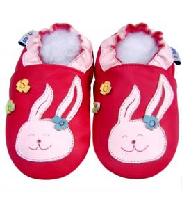 Chaussons cuir souple rouge fuchsia Lapin rose JinWood