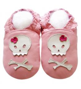 Chaussons cuir souple rose Pirate JinWood