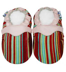 Chaussons cuir souple rose tissu rayures multicolores JinWood