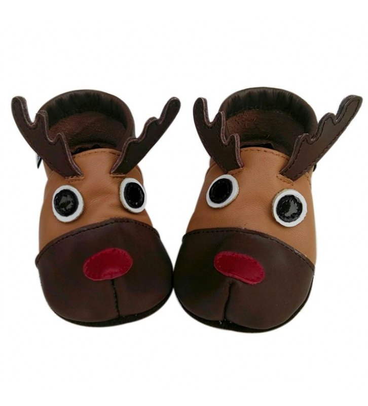 Chaussons cuir souple marron 3D Renne Rudolph JinWood