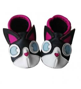 Chaussons cuir souple noir 3D Kitty rose JinWood
