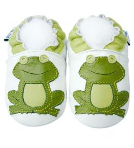 Chaussons cuir souple blanc Grenouille JinWood