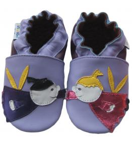 Chaussons cuir souple violet Anges JinWood