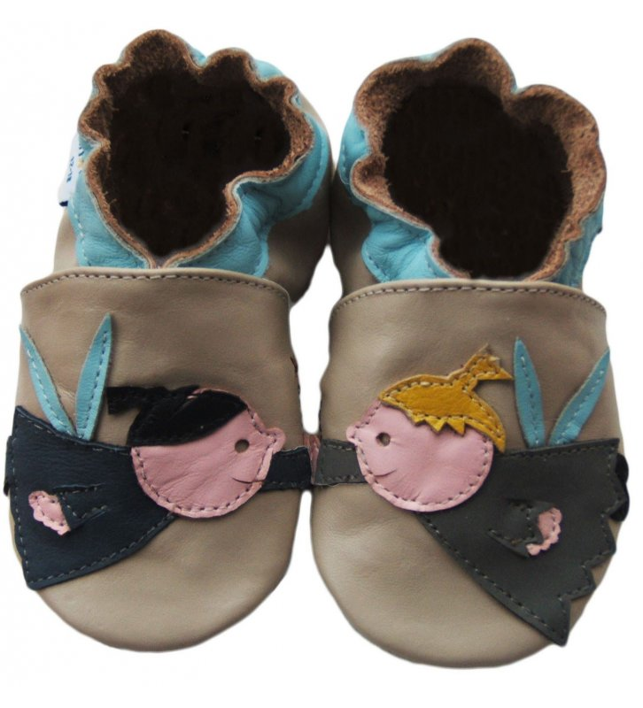 Chaussons cuir souple beige Anges JinWood