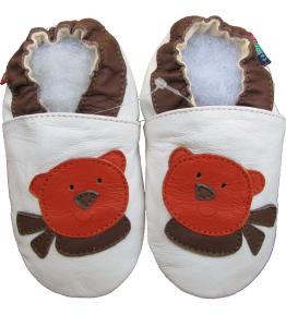 Chaussons cuir souple blanc Ours Teddy Carozoo